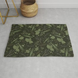 Green Herbs Spices / Olive Green Palette Rug