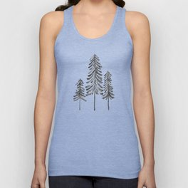 Pine Trees – Black Ink Unisex Tank Top