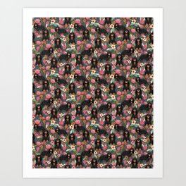 Cavalier King Charles Spaniel back and tan coat floral pattern dog breed gifts Art Print
