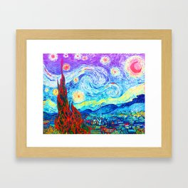 Psychedelic Starry Night Abstract Van Gogh Framed Art Print