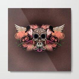 Skull Trucker Cap Metal Print