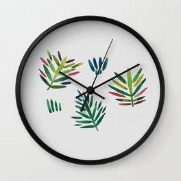 Trio of crayon color tropical leaves Wall Clock