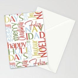 Holiday Typography with Merry Christmas Joyeux Noel Feliz Navidad Happy Hanukkah Stationery Cards