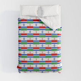 Mix of flag: Israel and Iran Duvet Cover