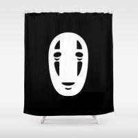 cinema Shower Curtains featuring Minimal Cinema - Kaonashi/Spirited Away by Quellasenzanick