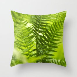 Green Fern Abstract Throw Pillow