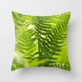 Green Fern Abstract Throw Pillow