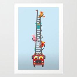 Brave Firefighters Art Print