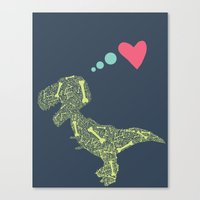 t rex Canvas Prints featuring T-Rex  by ChelseeTaylor