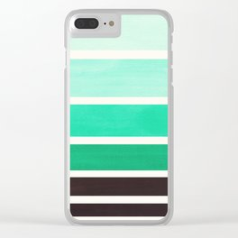 Teal Turquoise Minimalist Mid Century Modern Color Fields Ombre Watercolor Staggered Squares Clear iPhone Case