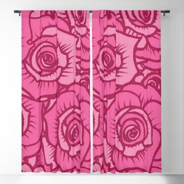 Pink Roses Blackout Curtain