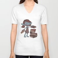 books V-neck T-shirts featuring Books! by Marmota Minima