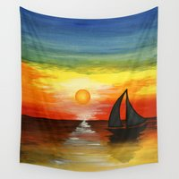tequila Wall Tapestries featuring Tequila Sunset by William Gushue