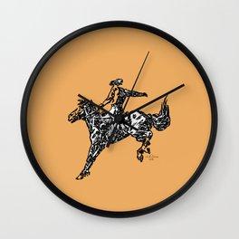 Orange Bronc  Wall Clock