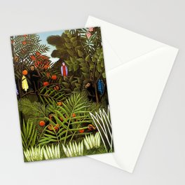 Exotic Jungle Landscape with Monkeys and Birds by Henri Rousseau Stationery Cards