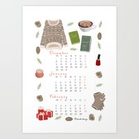 calendar Art Prints featuring Winter calendar by Babiole Design