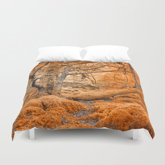 Glowing Amber Forest Duvet Cover