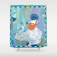 captain silva Shower Curtains featuring captain by bbay