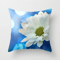 White Daisy on Blue Throw Pillow
