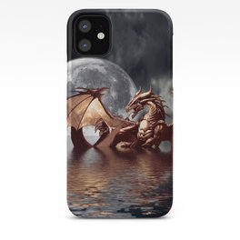 Mystical Dragon and Moon Fantasy Design iPhone Case