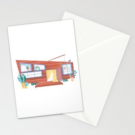 tiny house// dream home// wooden cabin // little cottage // on wheels Stationery Cards