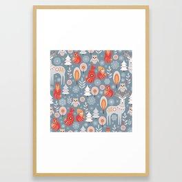 Fairy forest, deer, owls, foxes. Decorative pattern in Scandinavian style. Folk art. Framed Art Print