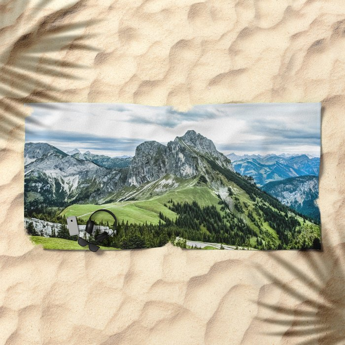 Mountain and Valley  Beach Towel