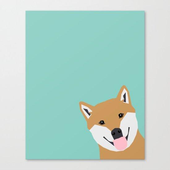 Shiba Inu Peek - cute shiba doge peeking funny dog art print mint turquoise customizable dog gift Canvas Print