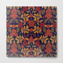 Fall/Autumn Floral Pattern with Purple, Orange & Red Metal Print