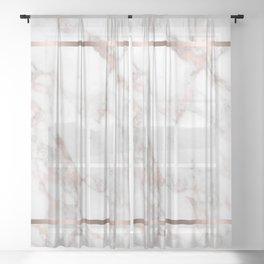 Luxury Rose-gold Faux Marble Sheer Curtain