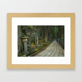 Path through Koyasan Okunoin cemetery, Wakayama Prefecture, Japan Framed Art Print