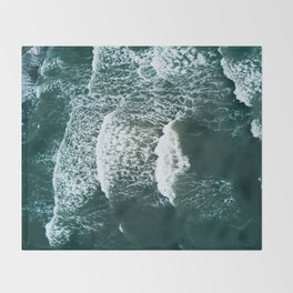 Wavy Waves on a stormy day Throw Blanket