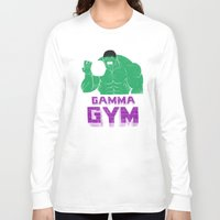 gym Long Sleeve T-shirts featuring gamma gym by Louis Roskosch