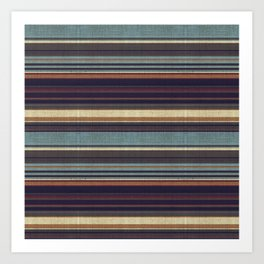 """Blue lines burlap"" Art Print"