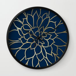 Floral Prints, Line Art, Navy Blue and Gold Wall Clock
