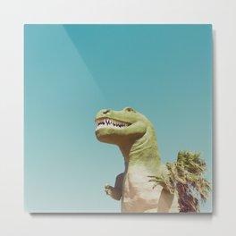Dinosaur, T-rex, Animals, Cute, Kids, Children, Teal, Palm Springs Metal Print