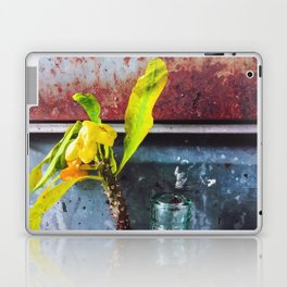 yellow euphorbia milii plant with old lusty metal background Laptop & iPad Skin