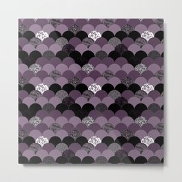 Purple violet abstract mermaid scales pattern Metal Print