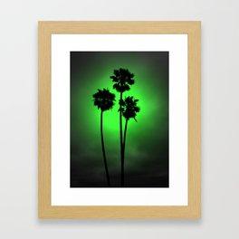 Palm Trees Green Glow Framed Art Print