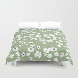 Modern floral on dusty green ground Duvet Cover