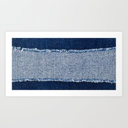 Denim blue jeans fabric frame. Bleached denim fabric  Art Print