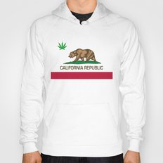 California Republic state flag with green Cannabis leaf Hoody