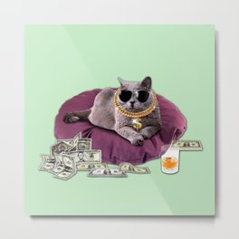 GANGSTA CAT Metal Print