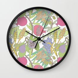 Seven Species Botanical Fruit and Grain with Pastel Colors Wall Clock