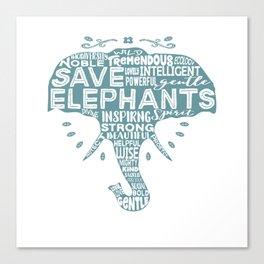 Save Elephants - Word Cloud Silhouette Canvas Print