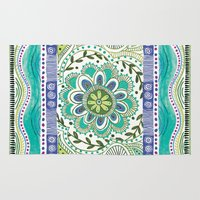 boho Area & Throw Rugs featuring Boho Bloom by Janet Broxon