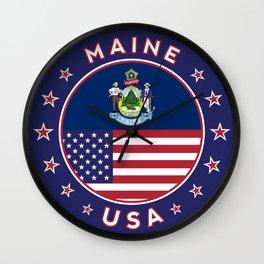 Maine, Maine t-shirt, Maine sticker, circle, Maine flag, white bg Wall Clock