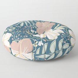 Big Flower Print in Muted Jewel Tones Green Pink Blue Yellow Floor Pillow