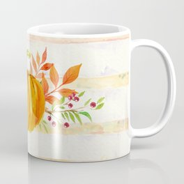 Pumpkin in Watercolor with Striped Background Coffee Mug