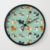 nordic Wall Clocks featuring NORDIC DOGS by DoggieDrawings